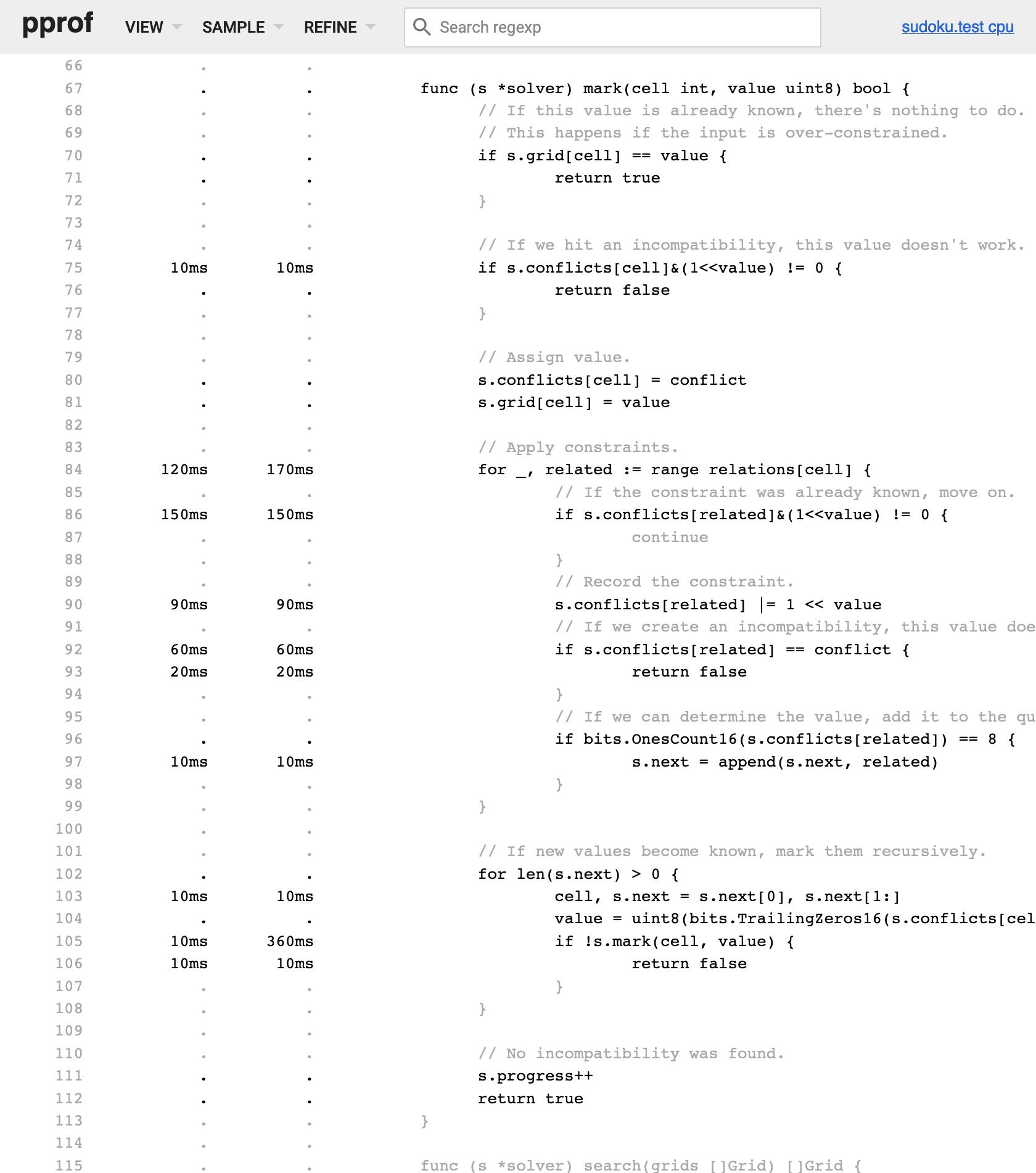 5 - CPU profile of mark
