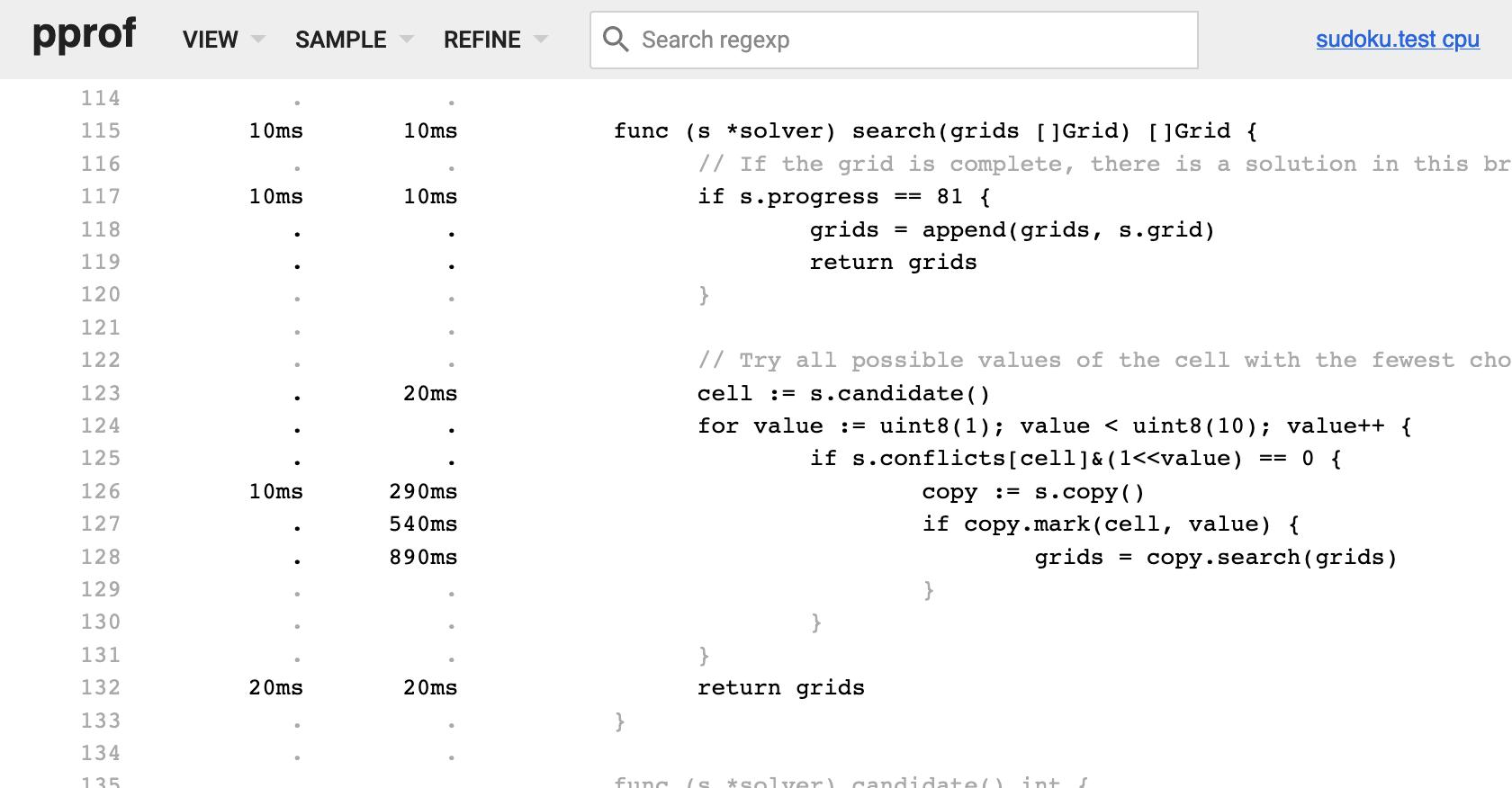 6 - CPU profile of search